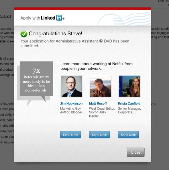 example of Apply with linkedin button with make a profile