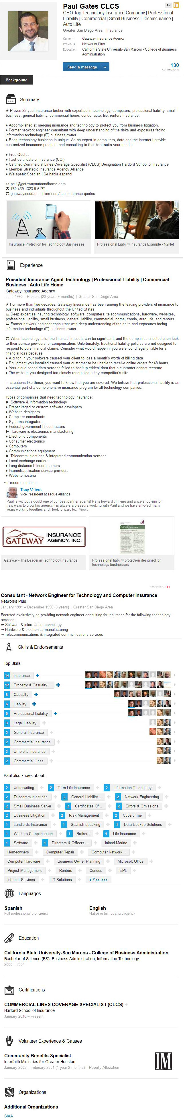 linkedin profile example san diego insurance sales