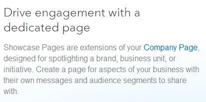 Linkedin showcase pages description