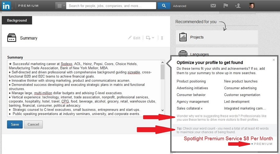 LinkedIn keyword suggestion tool