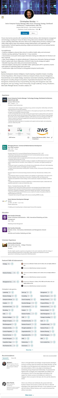 Example LinkedIn Profile: Software, SaaS, Storage, Cloud Computing