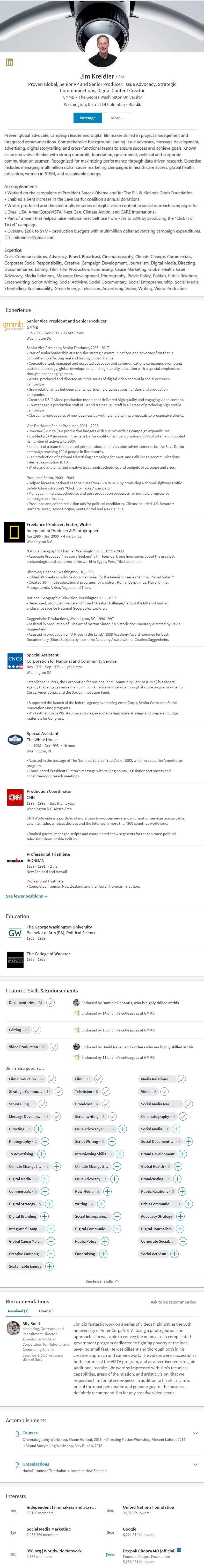 LinkedIn Profile Sample Communications Public Relations Media