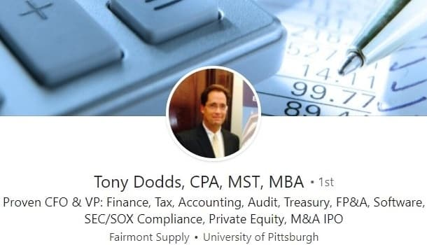example of LinkedIn profile summary for finance cpa cfo accounting