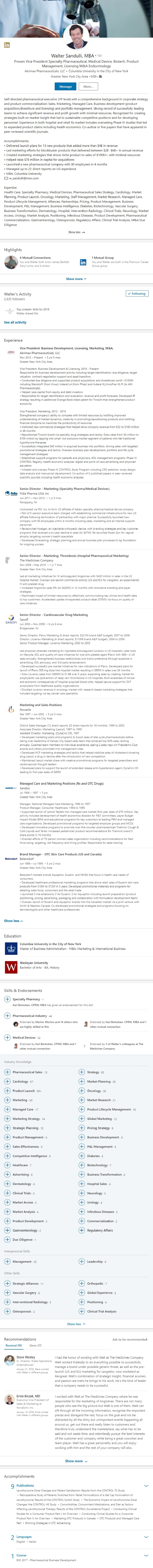 Pharmaceutical, Medical Device Sales LinkedIn Profile Example