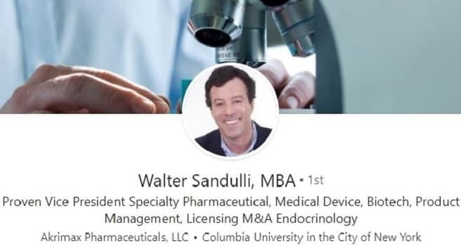 LinkedIn profile example - pharmaceutical medical