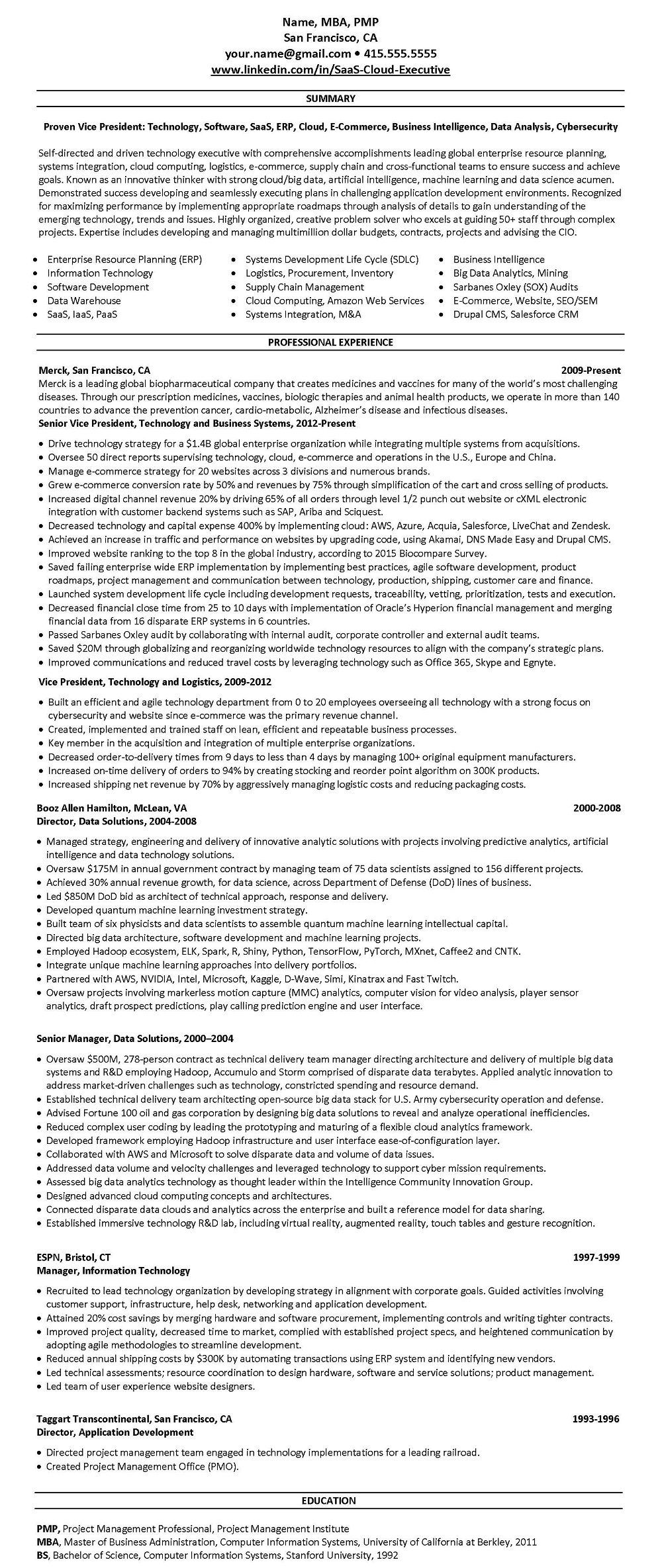 Tech - SAAS resume example