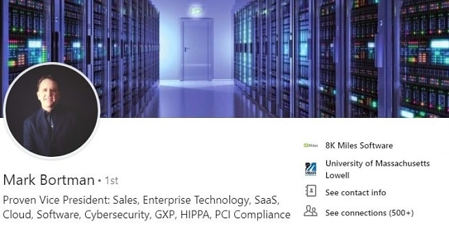 Sample LinkedIn profile - technology cybersecurity
