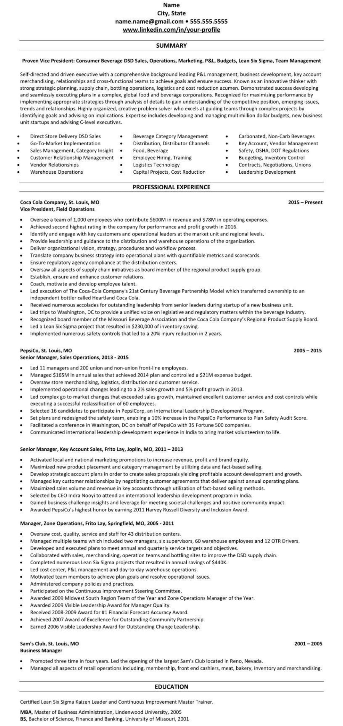 Professional executive resume example beverage sales 1919