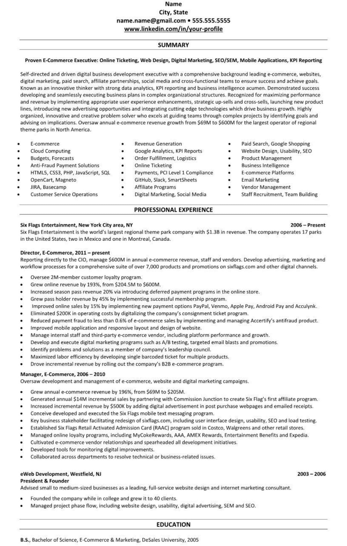professional/executive resume example e-commerce mobile apps 1959