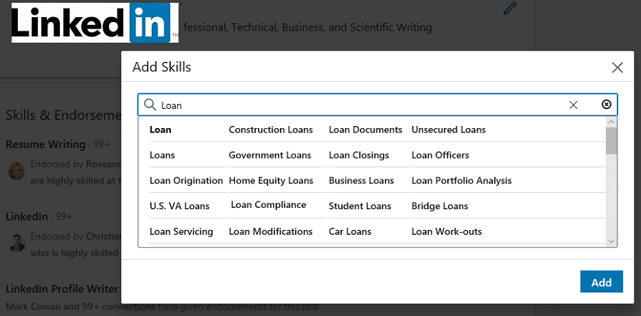 loan skills on linkedin
