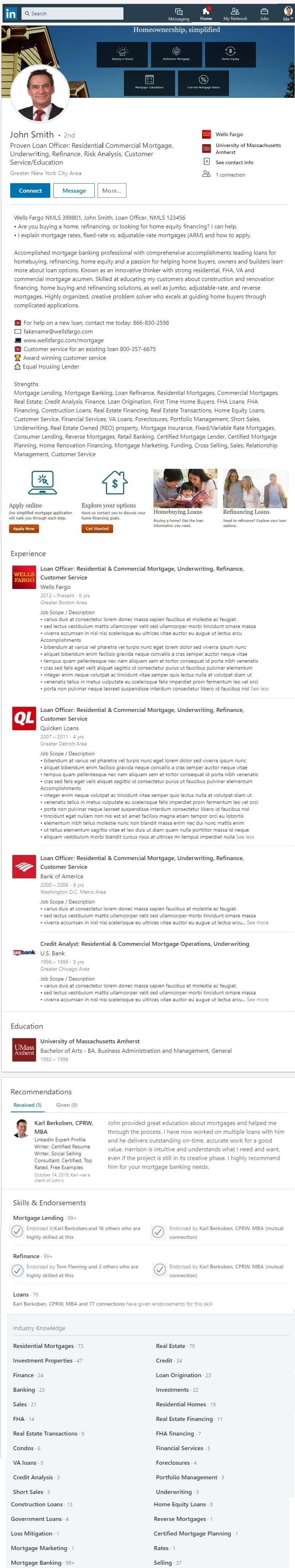 mortgage broker banker LinkedIn profile example