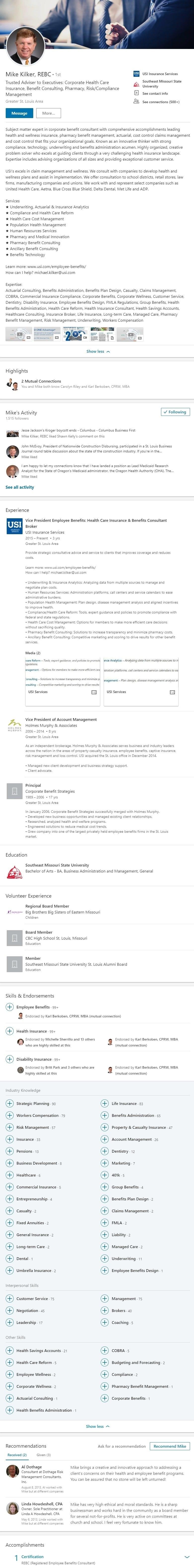 Sample Linkedin Profile example insurance benefits consultant 2140