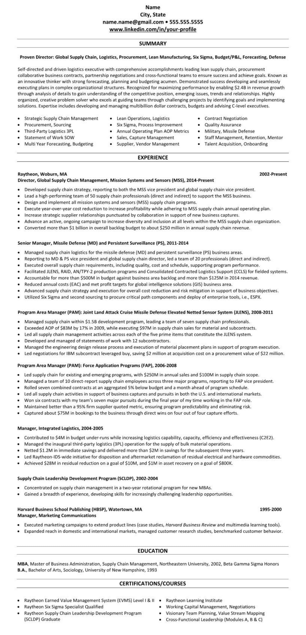 professional executive resume example procurement supply chain logistics 2161