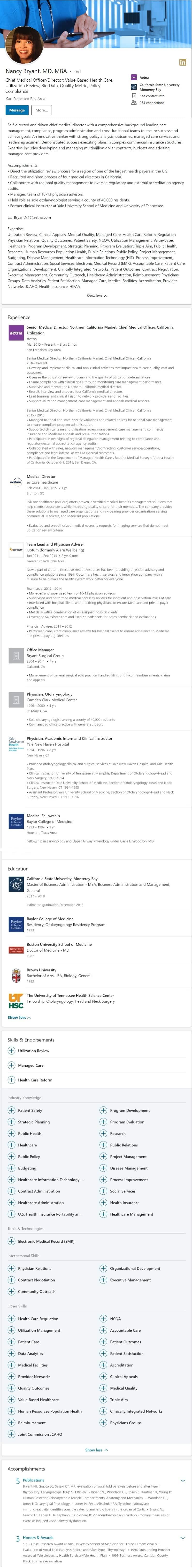 Linkedin profile example health care doctor