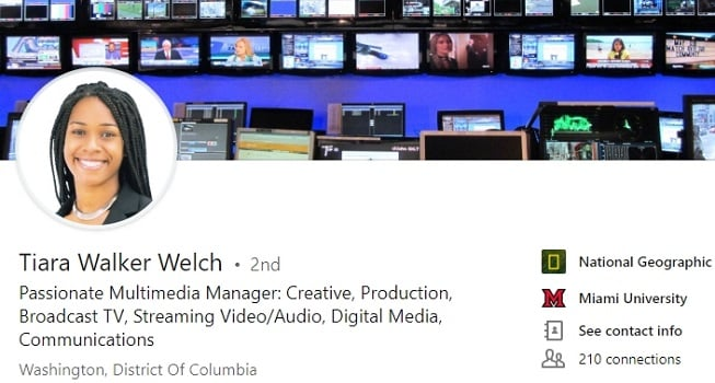 LinkedIn Profile example for multimedia and video production