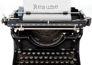 resume in a typewriter