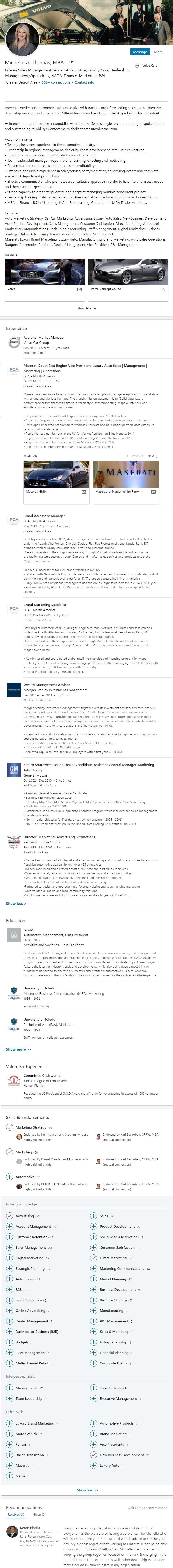 Linkedin Profile example automotive car sales 1198