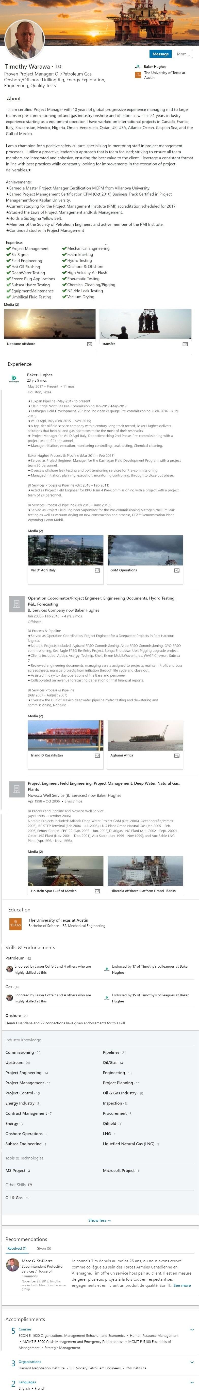 offshore oil energy drilling  LinkedIn Profile Example 1282