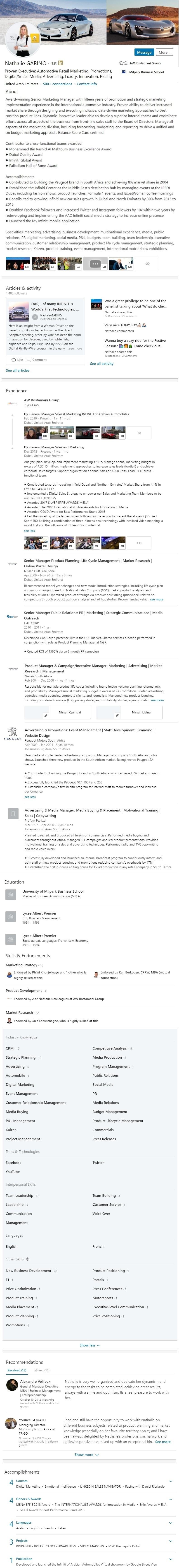 Linkedin Profile example UAE automotive marketing advertising media 1294