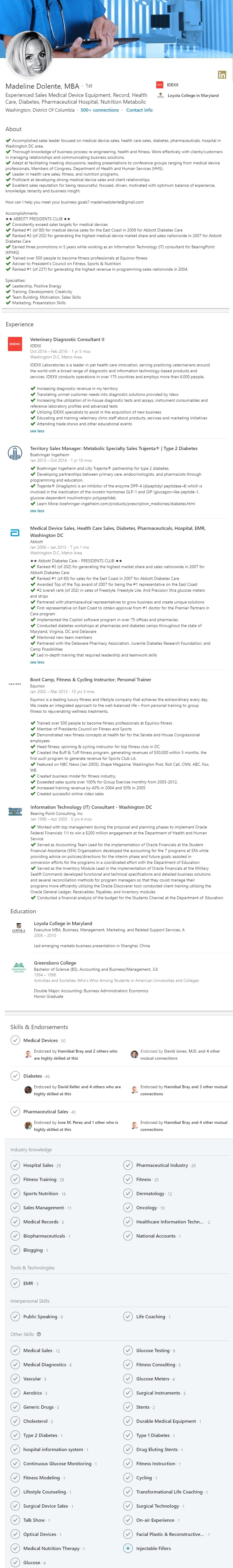 Medical Device Sales LinkedIn Profile Example 1477