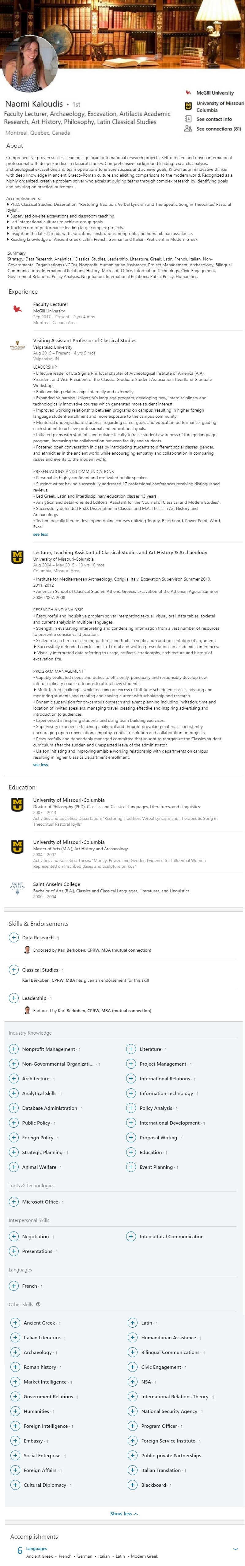 Profile 1501 Sample Linkedin Profile Example Higher Education Faculty Academic Research