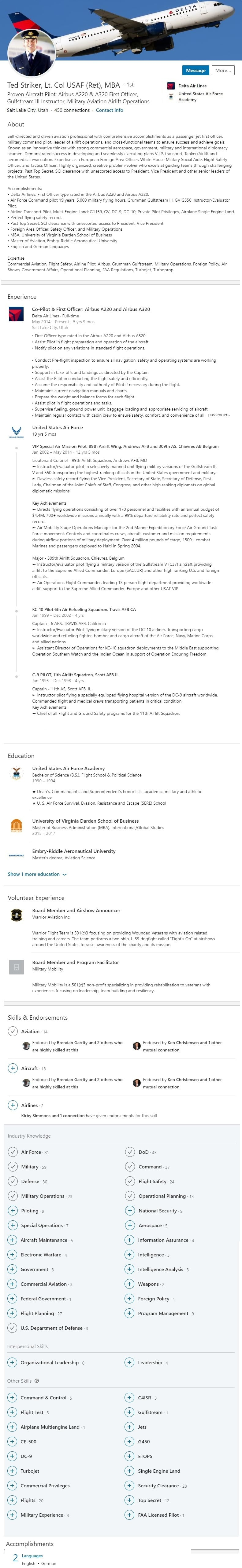 linkedin profile example military aviation airline pilot 1544