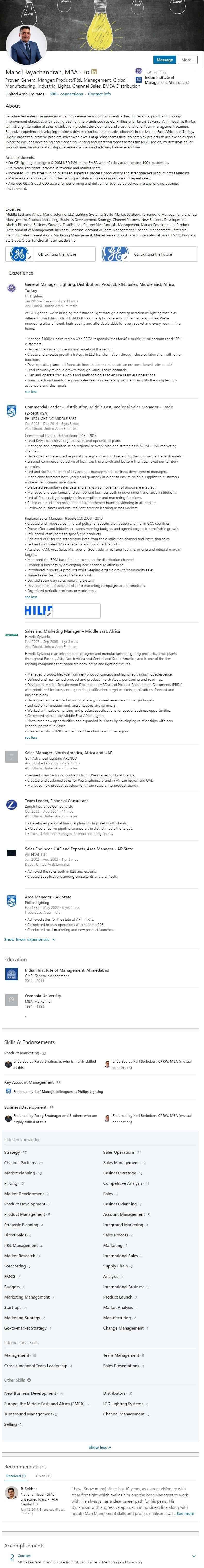 Linkedin Profile Example UAE Abu Dhabi 1707