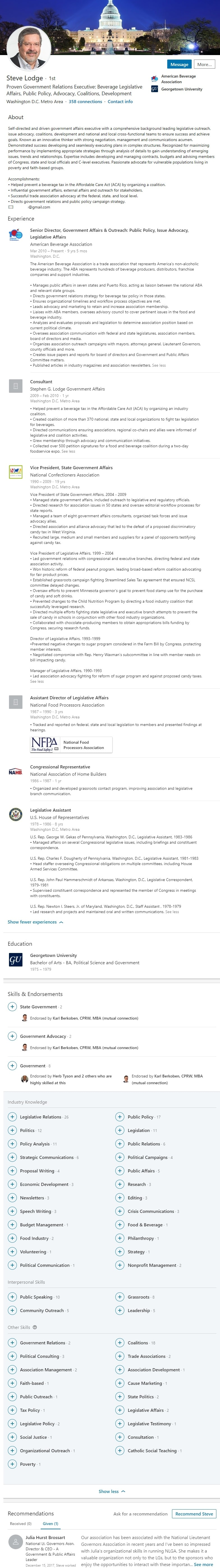 trade association government affairs LinkedIn Profile example 1937
