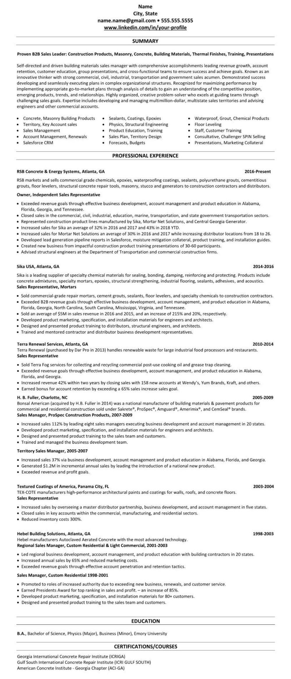 sample construction linkedin profile  u0026 resume  commercial