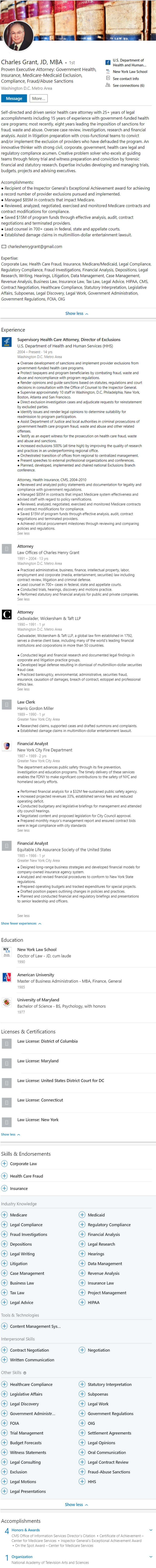 HHS federal government LinkedIn Profile Example 2309
