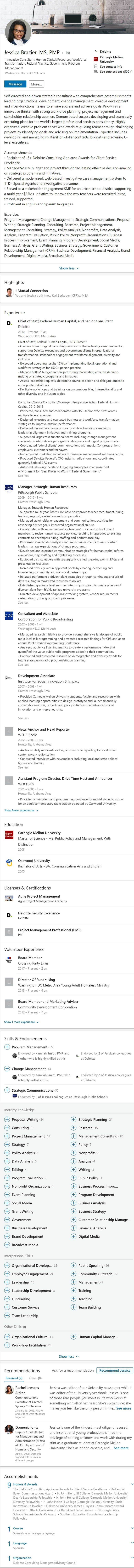 federal government public sector consulting Linkedin profile example 2329