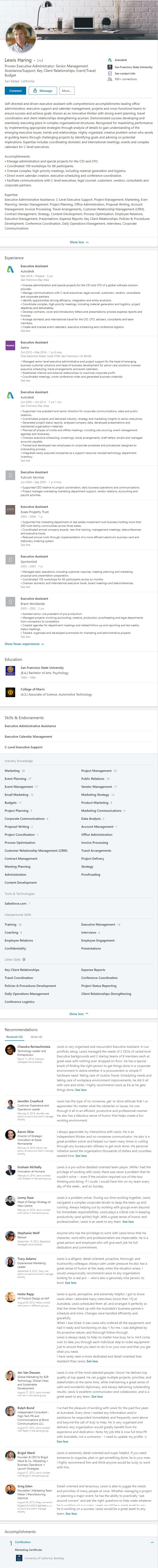 Linkedin Profile example office manager secretary 2376