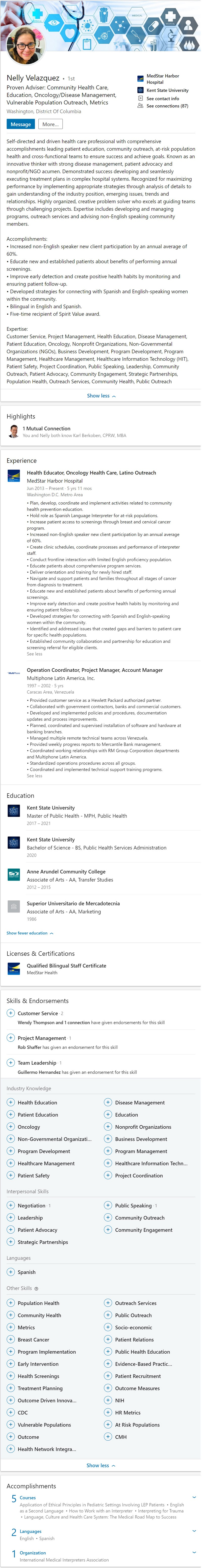 Sample Linkedin Profile example community health Latino education 2431