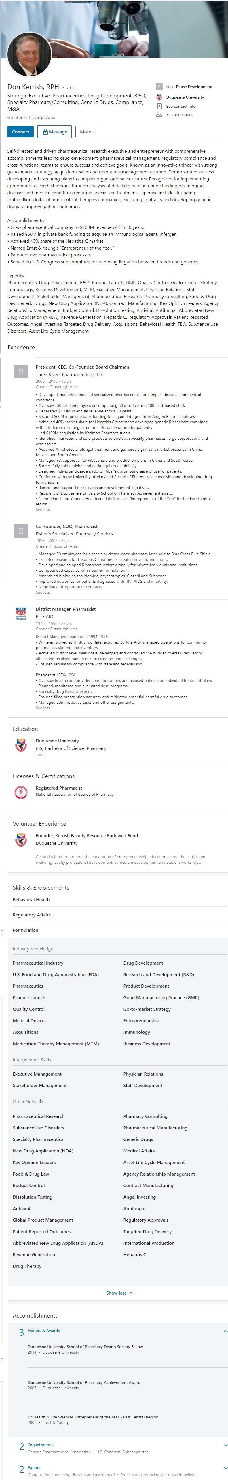 Sample Linkedin Profile Example Pharmacist 2453