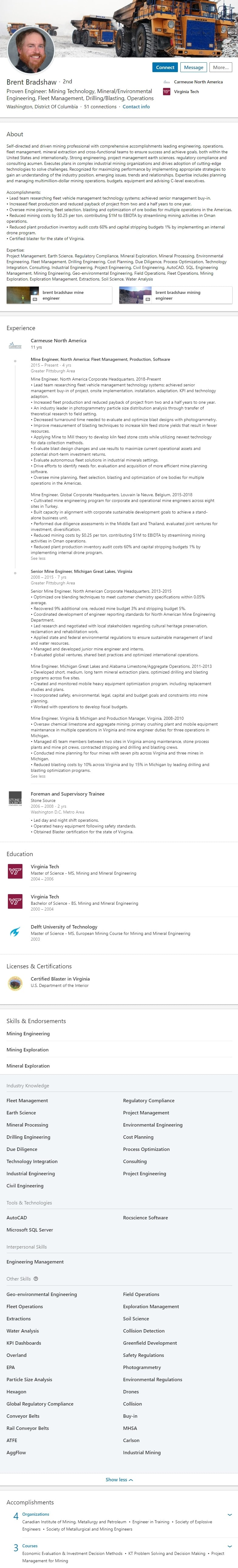 Sample LinkedIn Profile Example mining mineral engineering 2461
