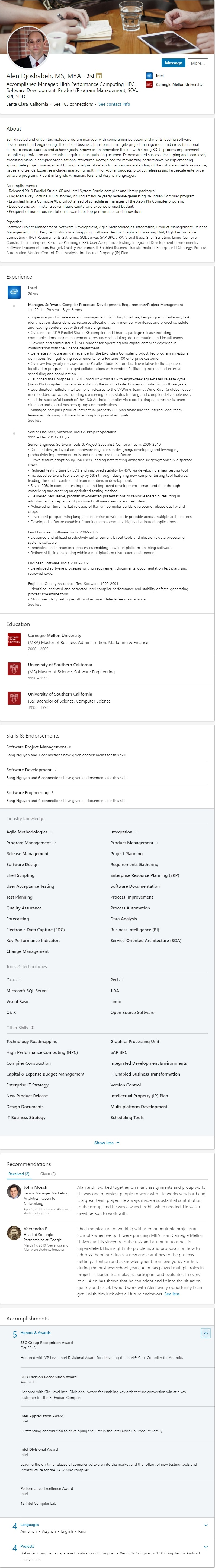 Sample LinkedIn profile example software engineering 2500