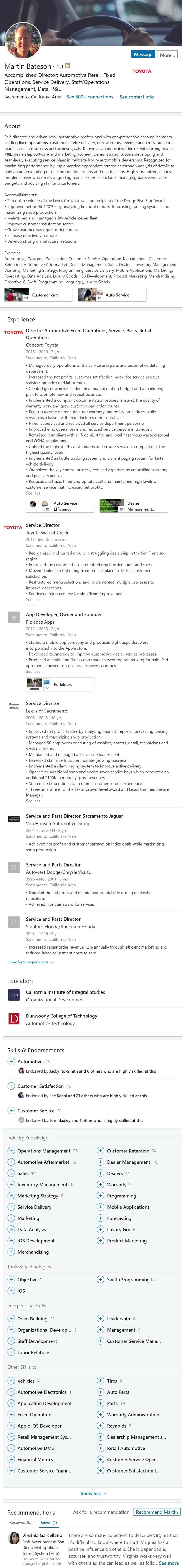 Linkedin Profile example automotive service maintenance 2510