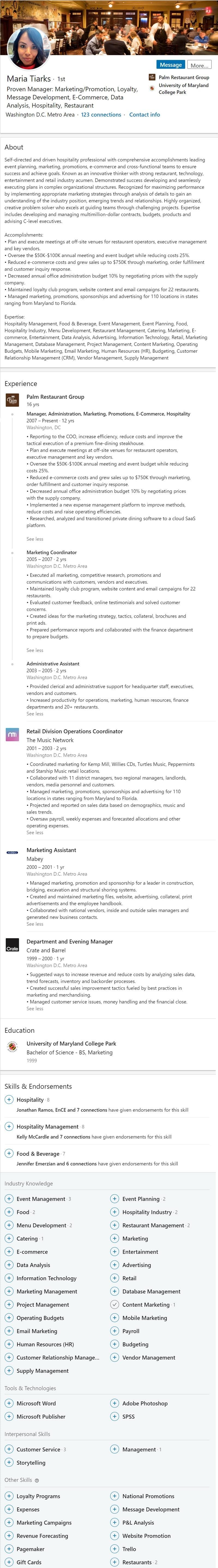Linkedin profile example restaurant food beverage 2558