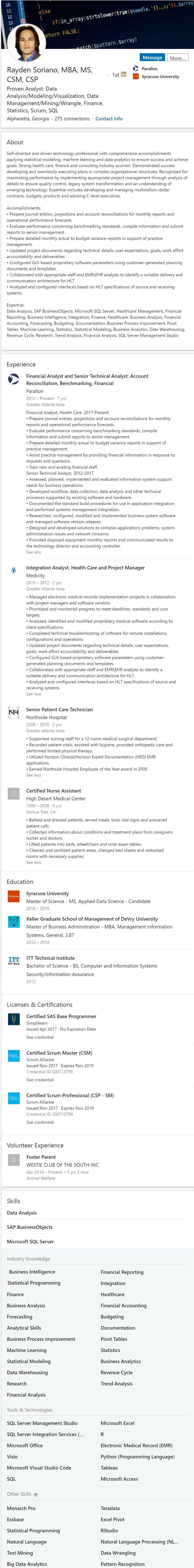 Business Intelligence Data Mining Analyst Linkedin Profile Example  2505