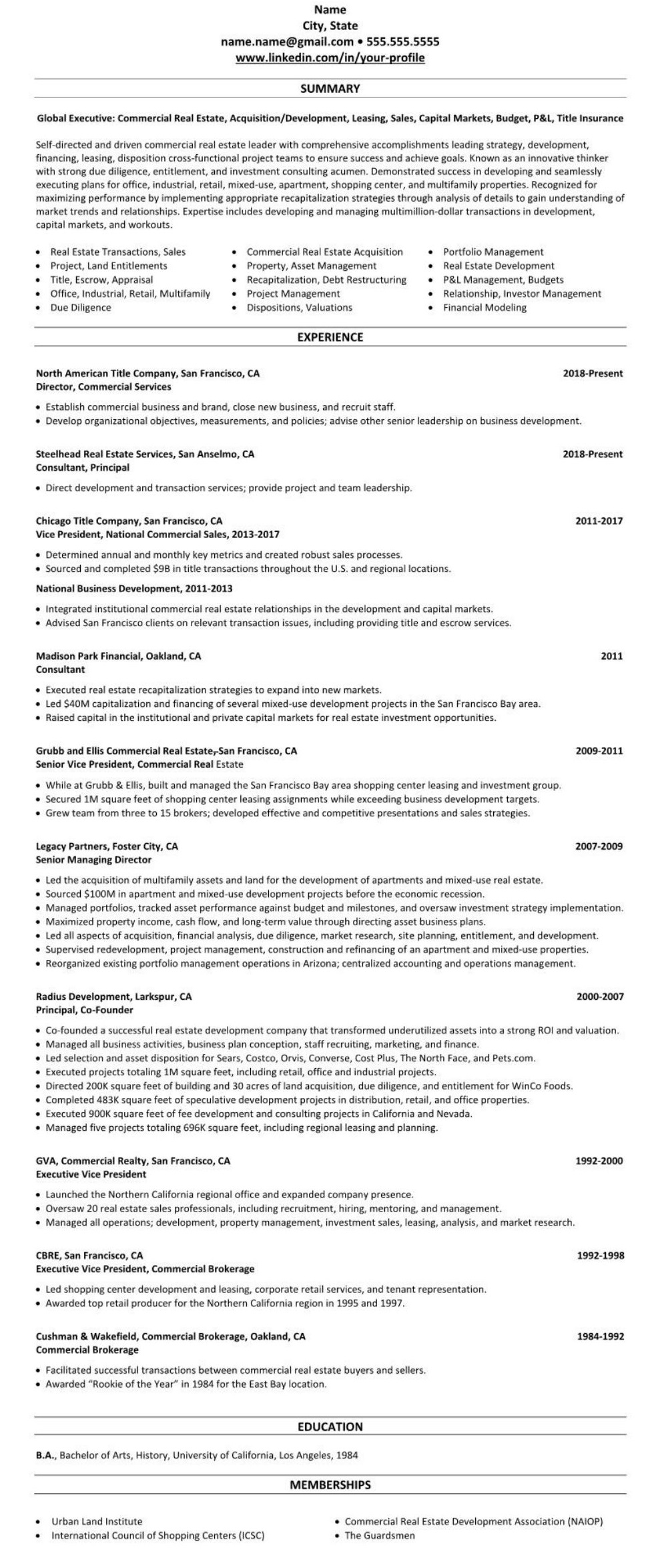 Real Estate Resume Example  2246