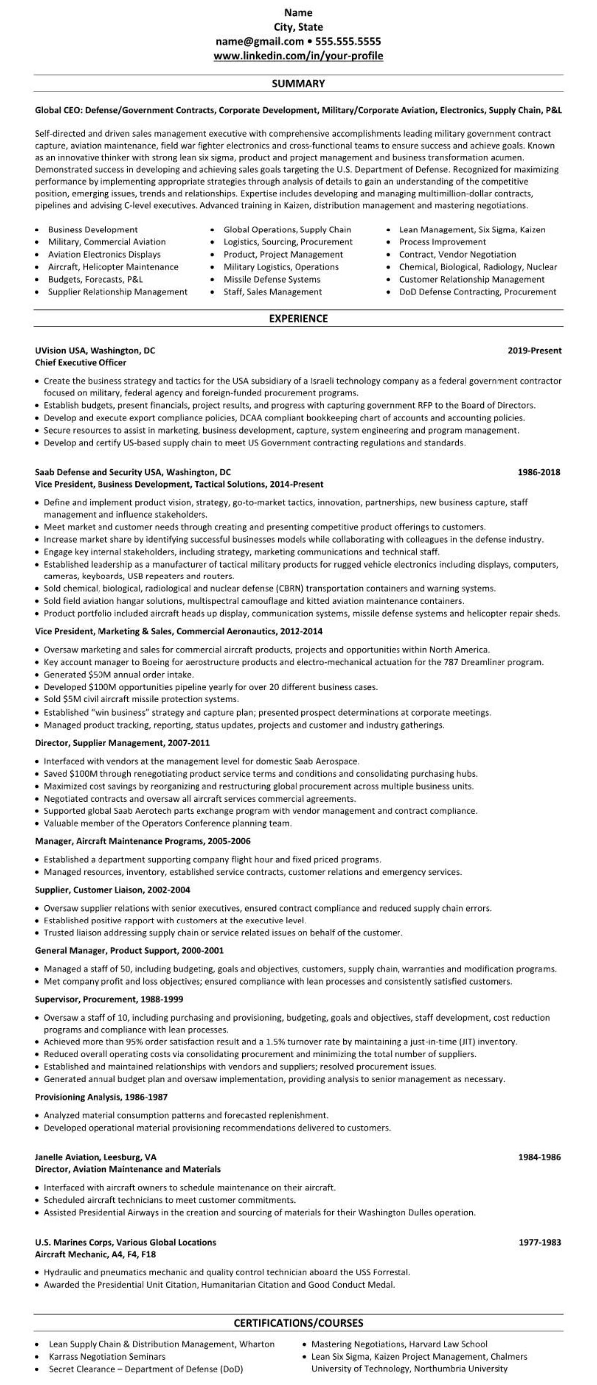 defense government contracts professional executive resume example 2266