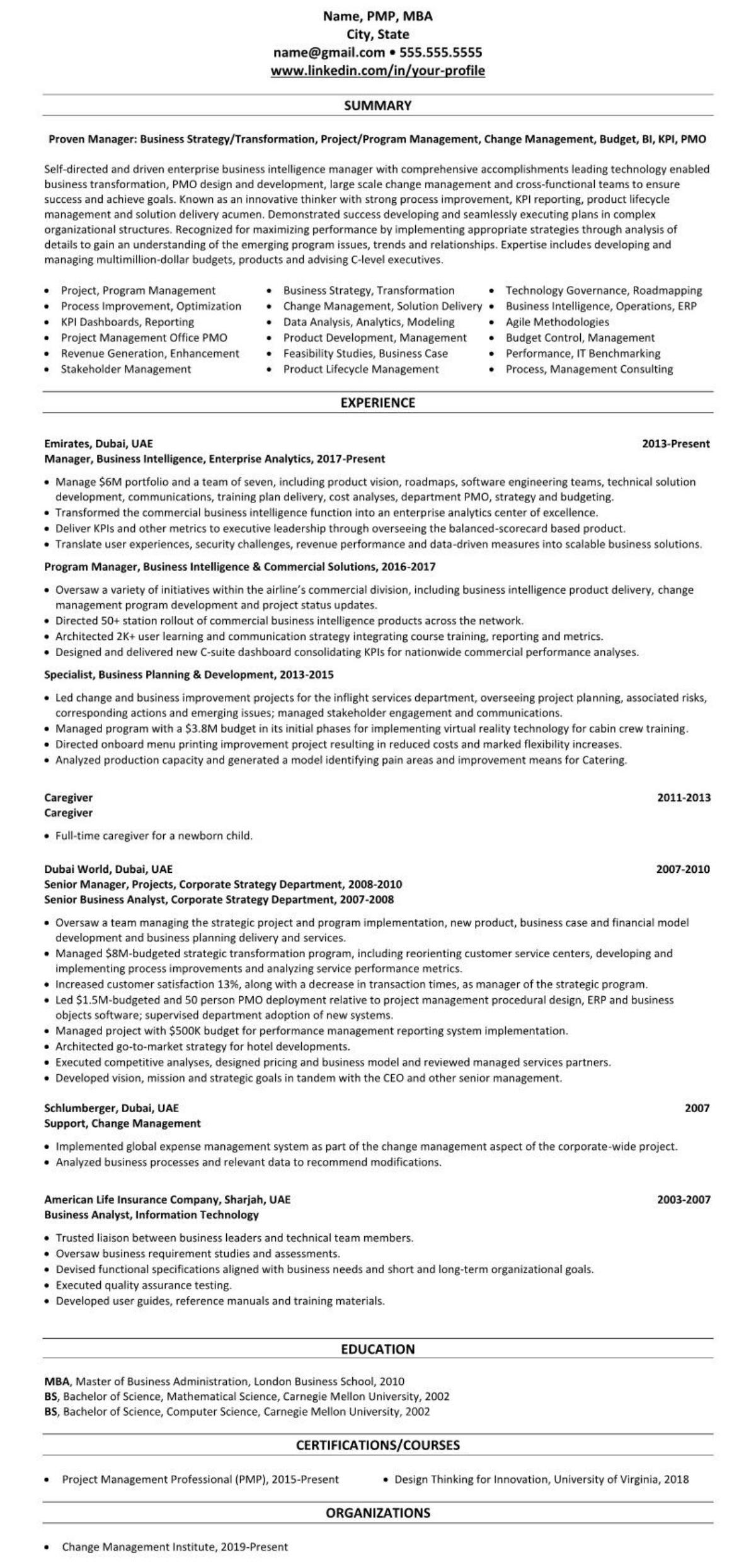 professional executive resume example UAE emirates abu dhabi 2458