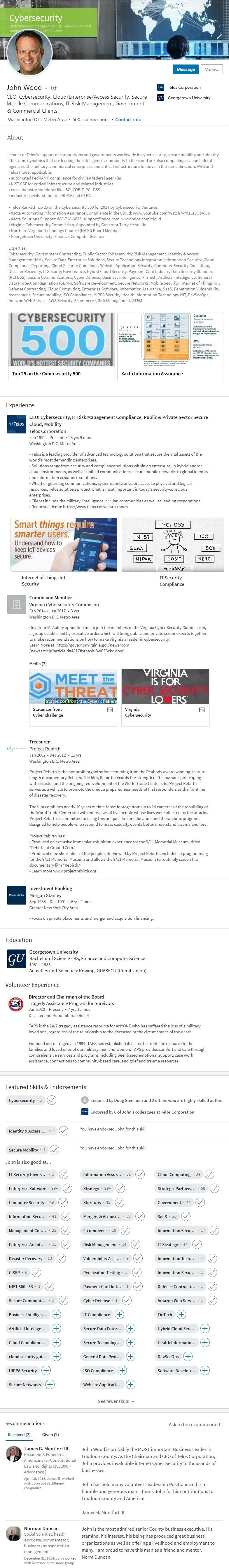 Profile 1800 Sample Linkedin Profile Example Technology Cybersecurity Ceo