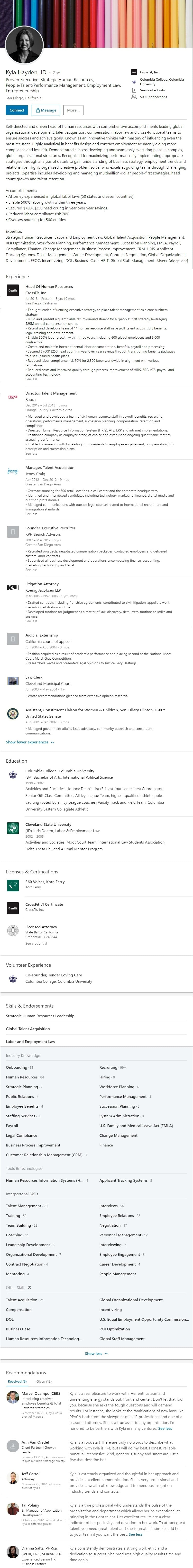 human resources director sample linkedin profile example 2448