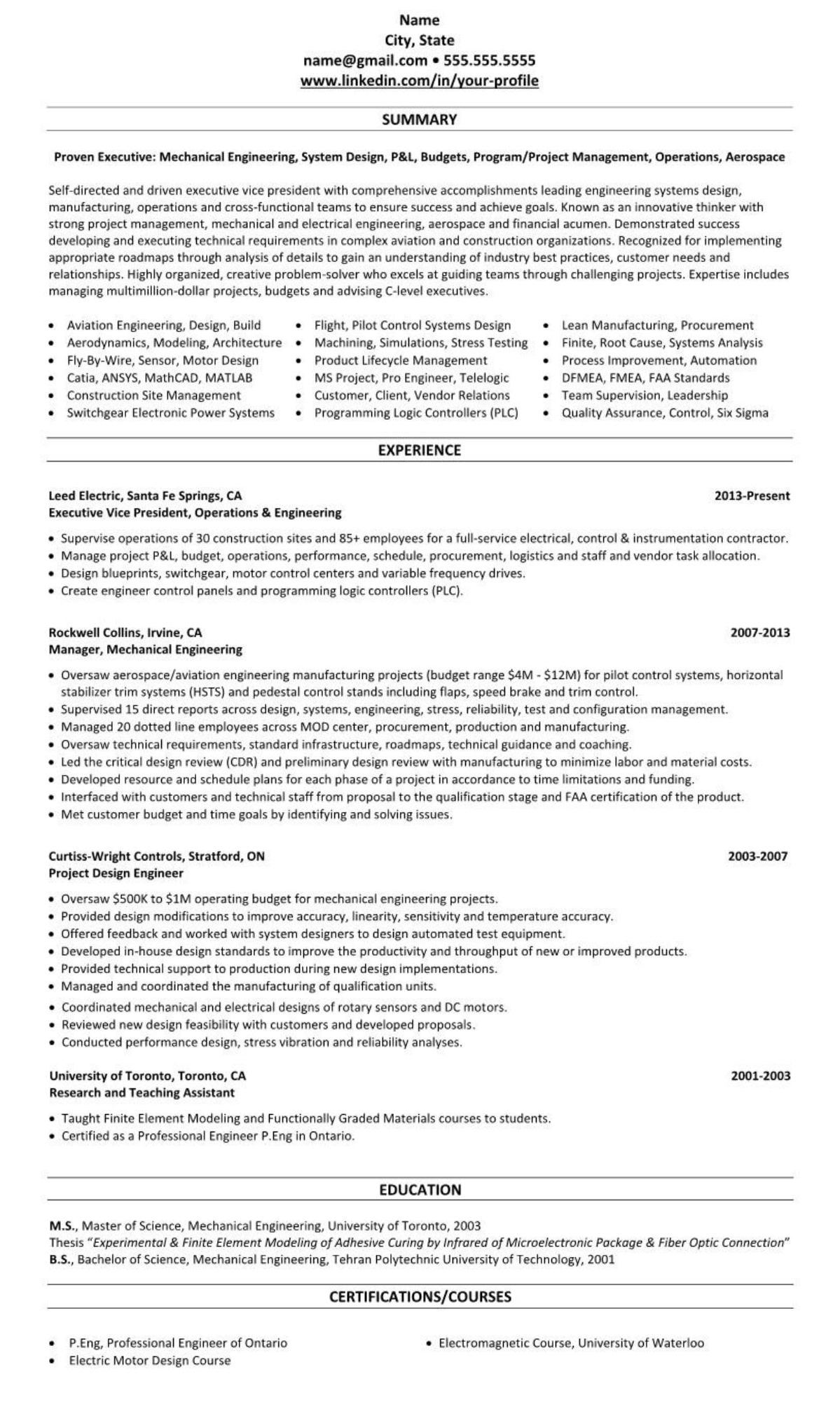 professional executive resume example mechanical engineering 2341