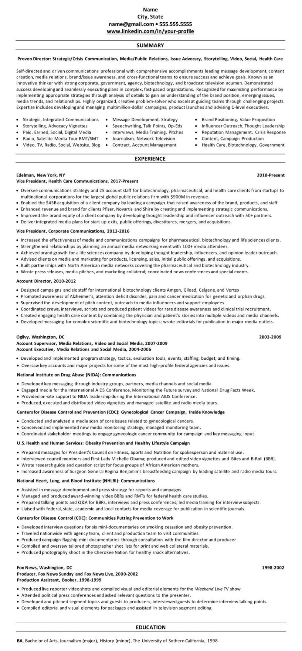 Communications Media Public Relations Resume Example 191103