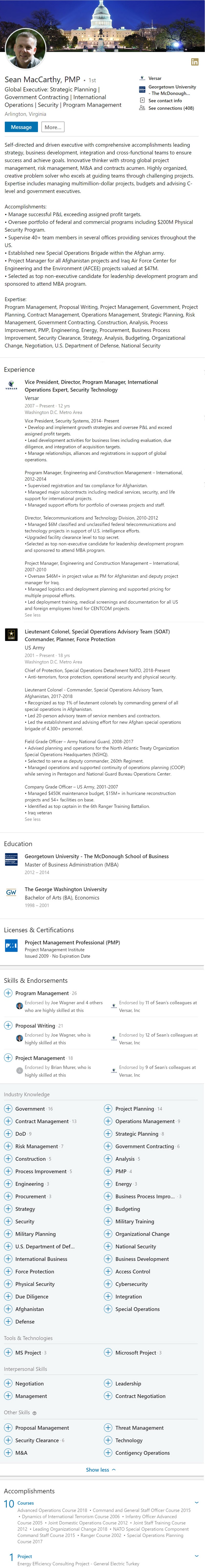 Executive LinkedIn profile example military combat security 2330