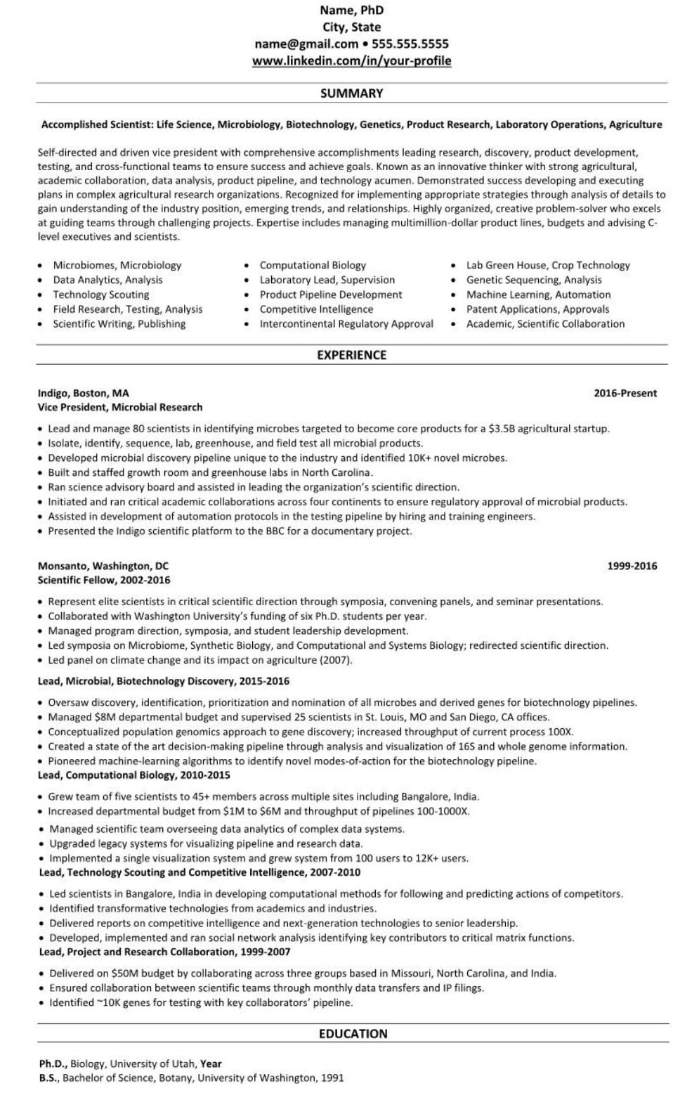 biotechnology life science professional executive resume example 2387