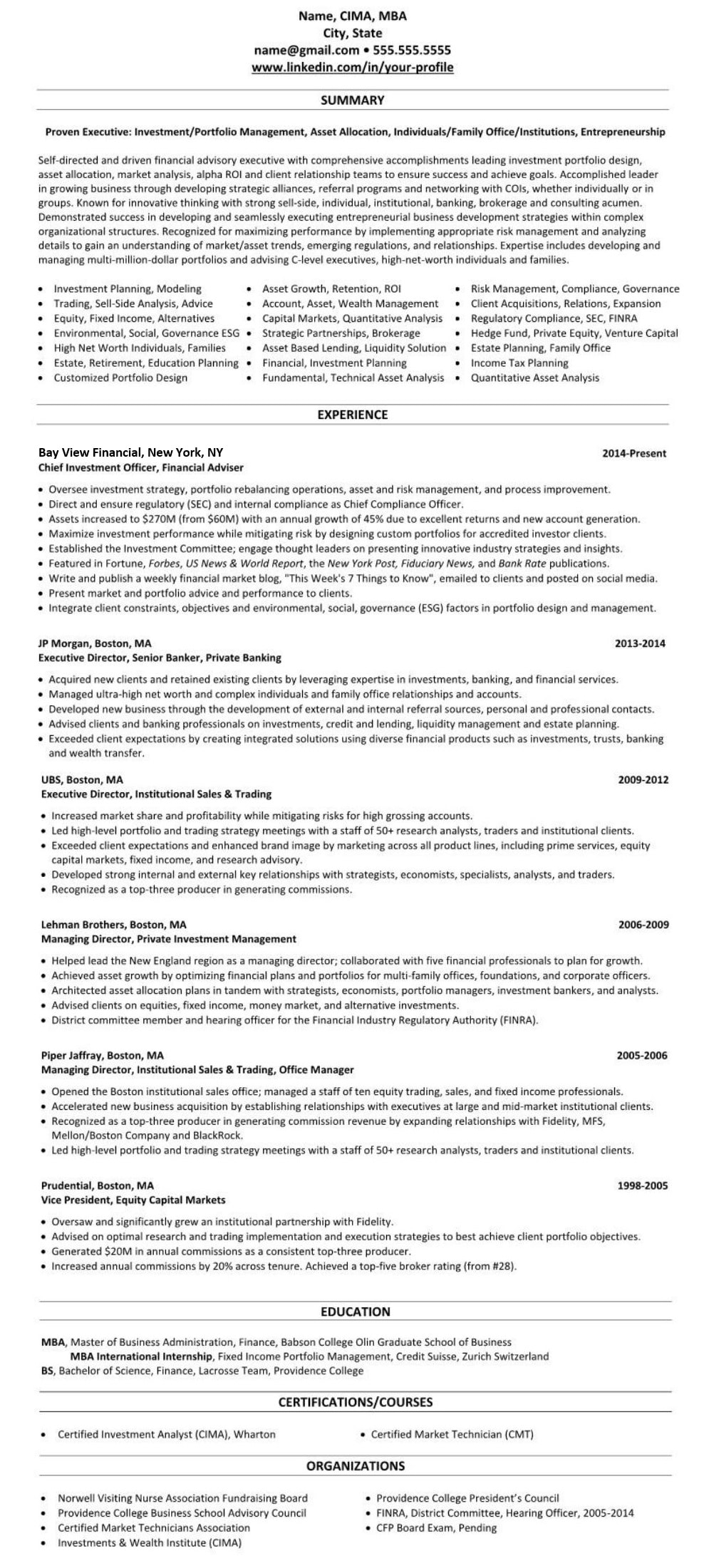 sample linkedin profile  u0026 resume  financial adviser