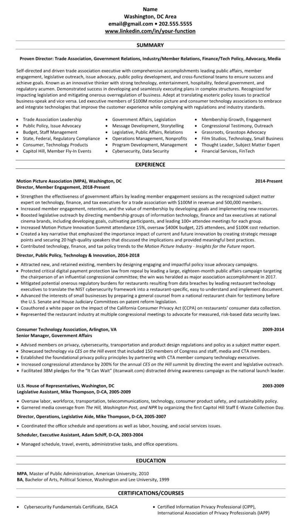 Professional Trade Organization Resume 2613